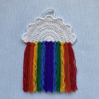 Handmade Crochet Rainbow Cloud Nursery Wall Handing
