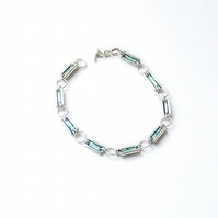 Sterling Silver & Blue Glass Enamel Bracelet