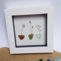Framed Sea Glass Artwork - Flower Trio