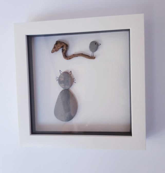 Framed Pebble Picture - Bird Watching