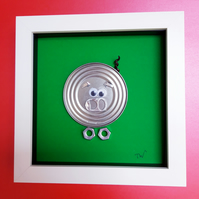 Framed Re-cycled Art - Plum Pudding the Pig