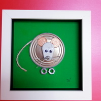 Framed Re-cycled Art - Lemon Meringue the Mouse