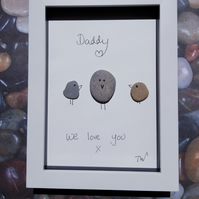 Framed Pebble Picture -Daddy We Love You!