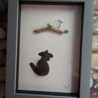 Framed Pebble Picture -Bird on a Branch
