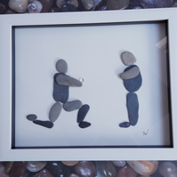 Proposal, a pebble and sea glass picture. Down on one knee!
