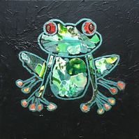 Tree Frog - Original Collage Painting