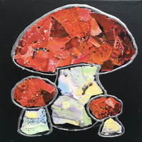 Toadstools - Original Collage Painting