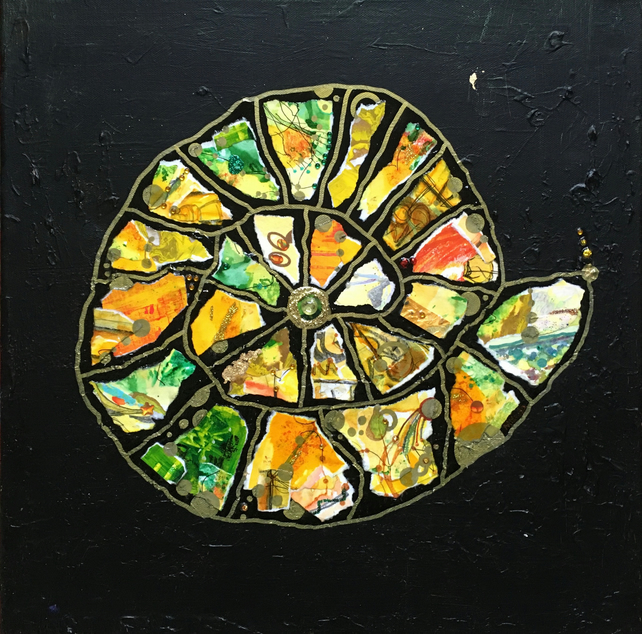 Ammonite: Mediterranean - Original Collage Painting