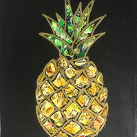 Pineapple - Original Collage Painting