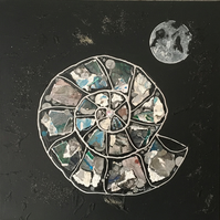 Ammonite: Moonlight - Original Collage Painting