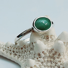 Aventurine Solitaire Ring - 925 Sterling Silver - Handmade - Artisan Jewellery