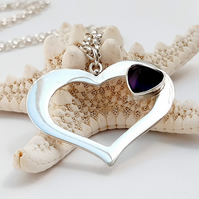 Amethyst Heart Necklace - 925 Sterling Silver - Birthstone - Handmade