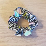 Black white and rainbo hair scrunchies tula pink