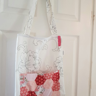 Flamingo tote bag with key clip