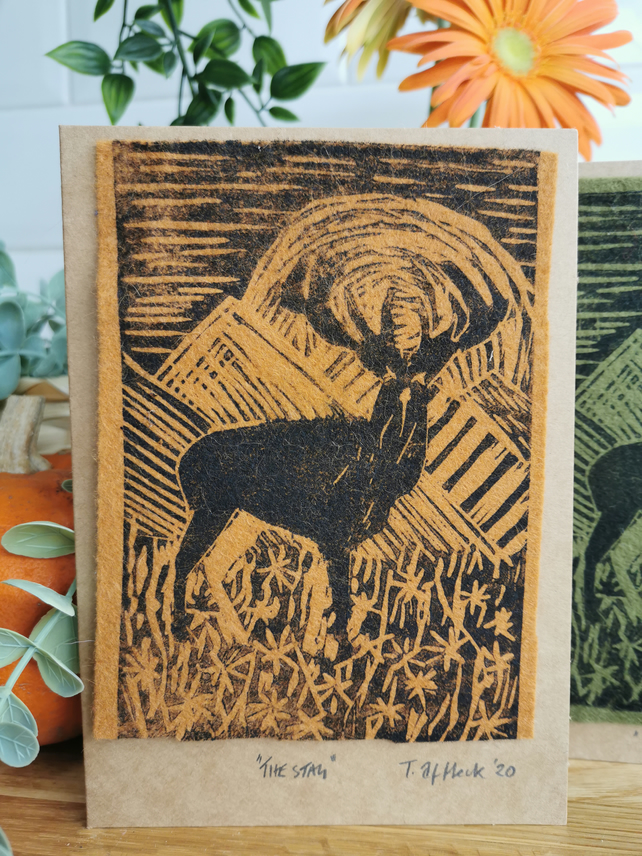 Handmade Card - All Occasions,Fathers Day, Original Lino print of a Stag