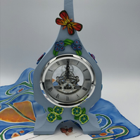 Clock in Painted oak, polymer clay flower decoration,skeleton works.