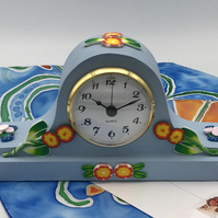 Clock in Painted oak, polymer clay flower decoration, Napolian hat design
