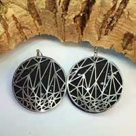 Fabrikk Stellar Laser Cut Earings - Black Silver - Vegan Leather