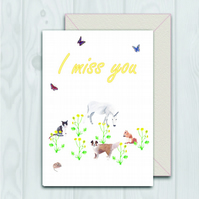 I miss you spring scene animal card