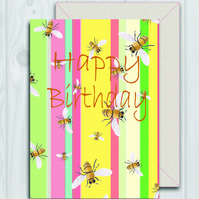 Happy Birthday, Bee stripe card by Illustrator Ruth Goodwin.