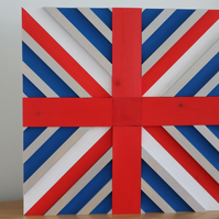 Hand made wooden Union Jack design wall art, reclaimed wood used.