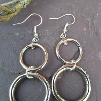 Boho double hoop sterling silver dangle earrings