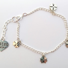 Good luck Clover charms silver tone personalised charm bracelet