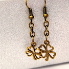 "4 leaf ""lucky"" clover charm and chain dangle earrings - silver or bronze"