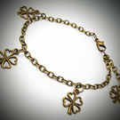 "Good luck ""lucky"" Clover charm personalised  bronze tone chain bracelet"