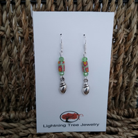 Sterling silver conch shell and crystal beaded earrings
