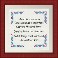 Completed Cross Stitch - Life Is Like A Camera