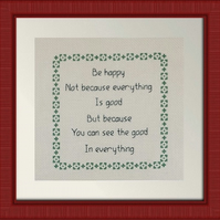 Completed Cross Stitch - Be Happy