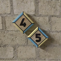 Handmade Wooden Modern House Number Tiles Signs Hand-Painted