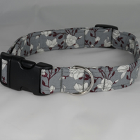 Handmade Summer Fabric Dog Collar - Grey Floral - Large