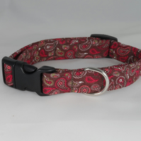 Handmade Summer Fabric Dog Collar - Red-Brown Paisley