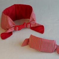 Small Koolneck Cooling Collar - adjustable between 10-13 inches - Red Pinstripe
