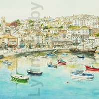 Brixham Devon Print. Mounted to 14x11""