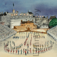 Edinburgh Castle Tattoo Print Scotland watercolour scene