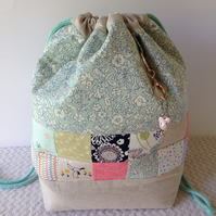Liberty and linen patchwork project bag