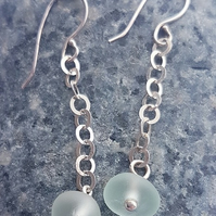 Seaglass on Sterling Silver Chain Earrings