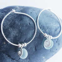 Seaglass and Sterling Silver Hoops