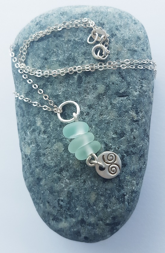 "Seaglass Pendant on 18"" Sterling Silver trace chain."