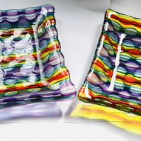 Abstract Spectrum coloured fused glass dish