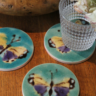 hand made Woodland Butterfly tile coaster