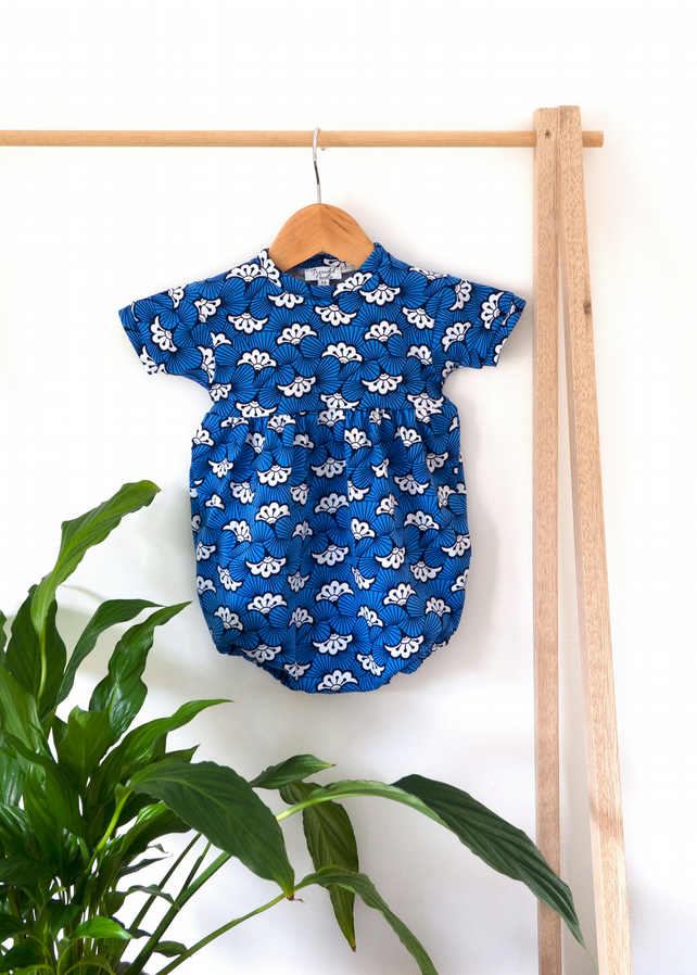 Hue of Blue Baby Puffball Playsuit