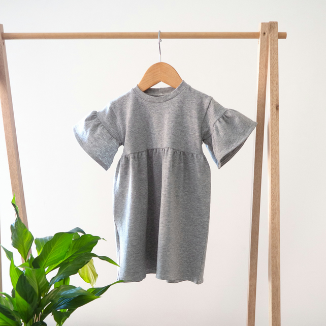 Marl Grey Baby Frilled Dress