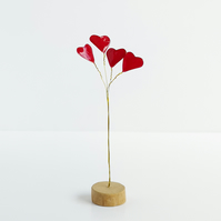 Love heart bouquet ornament, objet deco, wire and driftwood sculpture, 4 hearts