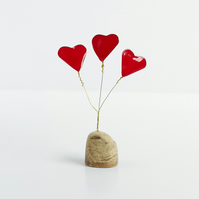 Love heart bouquet ornament, objet deco, wire and driftwood sculpture, 3 hearts