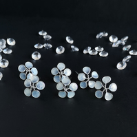 Flower hairpins, bridal hair accessories, silver and glittery white