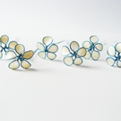 Flower hairpins, ivory and turquoise, bridal hairpins
